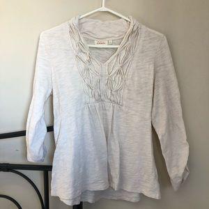 Deletta Anthropologie white vneck ruched blouse